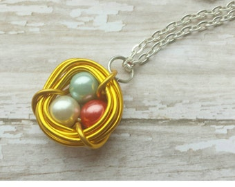 bright necklace, birds nest necklace, gold necklace, colorful necklace, bird nest necklace, wire wrapped necklace, beaded necklace, pearls