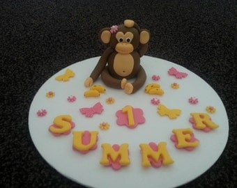 Edible Monkey birthday/ celebration cake topper PERSONALISED