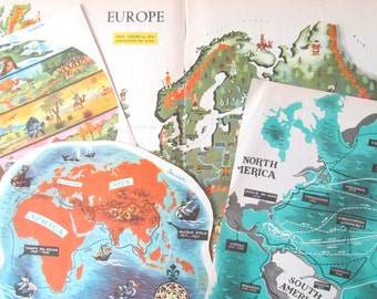 1950s Geography and map papers: 4 illustrated pieces from a children's book. Includes a map of Europe. Ideal ephemera for craft, scrapbooks.