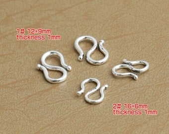 925 Sterling Silver S Hook Clasps Thai Silver Hook Clasp High Quality Y348
