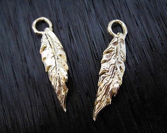Handmade Gold Bronze Artisan Leaf and Feather Charms (two) (N)