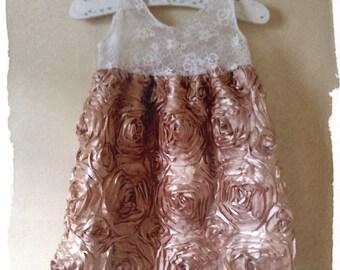 Lace rosette pillow case dress,rosette dress,shabby dress upcycle dress,baby dress,lace dress.