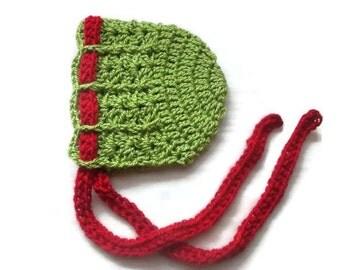 Baby girl bonnet,  green baby bonnet,  green baby girl hat, newborn props, crochet baby bonnet, christmas baby hat, newborn  girl bonnet