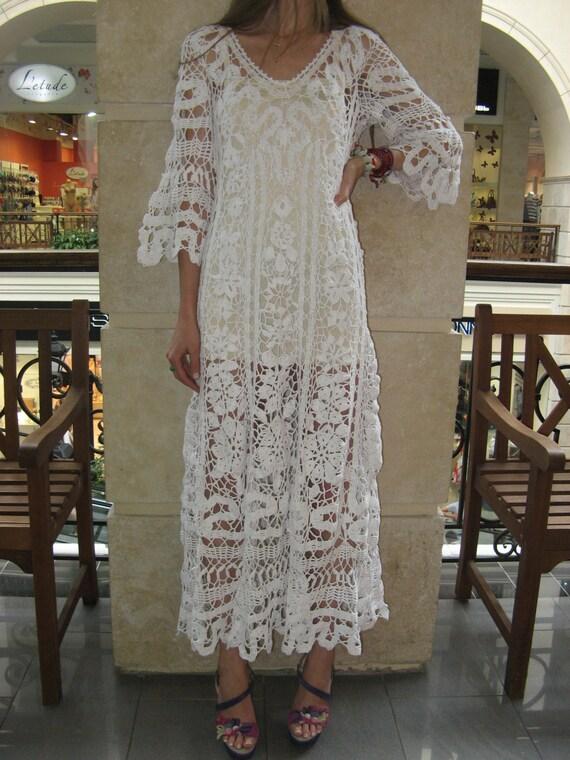 Crochet robe maxi handmade white robe mariage robe crochet for Robe maxi blanche mariage