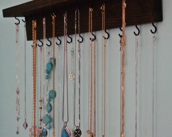 Necklace Organizer Storage with Black Hooks