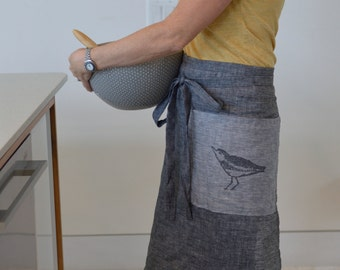 linen cafe apron/ half apron with pocket made in USA made in Maine with screen printed sandpiper design