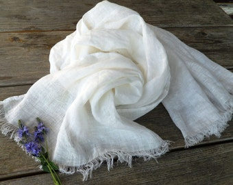 Soft Pure LINEN Scarf, white shawl , Summer Scarf   wedding  linen fabric large white shawl Gift woman