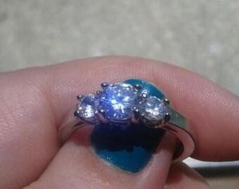 June Alexandrite Birthstone Stainless Steel Cubic Zirconia Ring