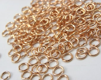 Sale, 200 pcs 4mm Rose gold  plated opened jump rings, 4mm jump rings finding, jewelry supplies, Rose gold finding