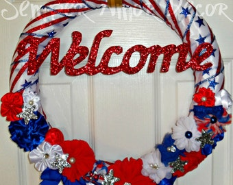 Military Wreath, Fourth Of July, July Wreath, 4th Of July Wreath, Patriotic Wreath, Stars Stripes Wreath, Red White Blue, **CLEARANCE**