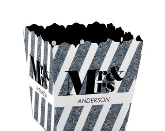 Mr. and Mrs. - Silver Custom Small Candy Boxes - Personalized Wedding Party Supplies - Set of 12
