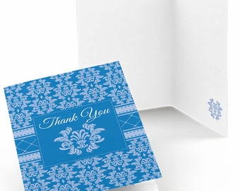 Set of 8 Thank You Cards - Damask Blue - Note Cards
