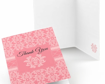 Set of 8 Thank You Cards - Damask Pink - Note Cards