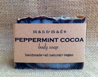 Peppermint Cocoa Soap, All Natural, Vegan, made with 100% Essential Oil & Pure Cocoa Powder