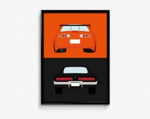 Fast and Furious - Brian's Toyota Supra and Dom's Dodge Charger A3 Print