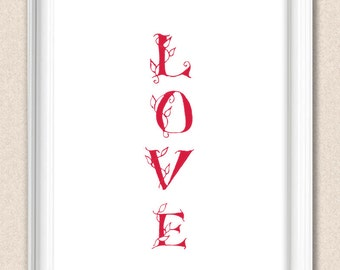Personalized Love Print Typographical Romantic Art Custom Colour A012