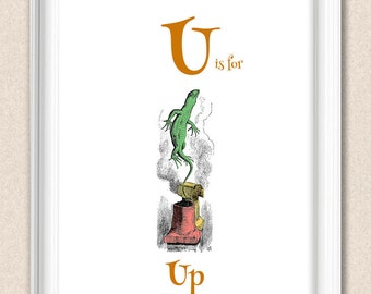 Alice in Wonderland Nursery Alphabet Print U is for Up A095