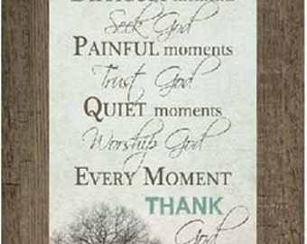 Happy Moments Praise God Inspirational Religious Vertical Grey Aqua Blue Print Picture Framed Art  13x22""