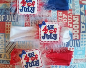 4th of July Feltie and Maribou Puff on Cotton Interchangeable Headband