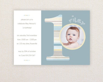 Photo Birthday Invitations. Boys 1st birthday. I Customize, You Print.