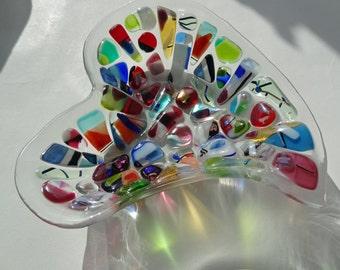 "SOLD OUT** Multi-coloured ""Rainbow Exuberance"" Heart Dichroic Jewel Glass Bowl (21cm x 18cm x 4cm)"