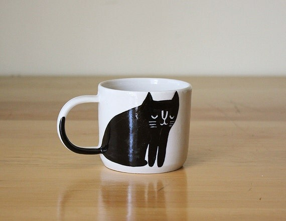 Made to order: Black and White Happy Cat Mug with Tail on Handle