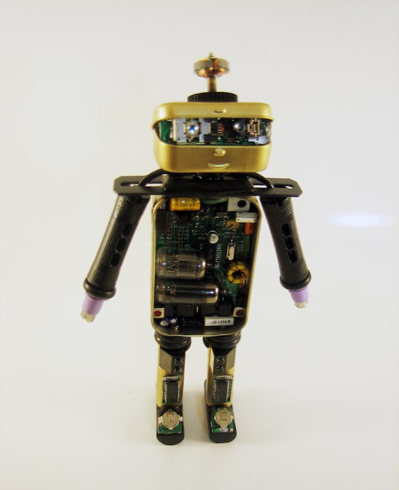 object robot. Junk art. Repurposed upcycled recycled tins computer