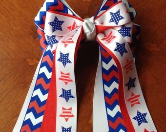 Patriotic Chevron Horse Show Hair Bows/Ready2Mail/ Patriotic red, white & blue hair accessory