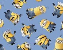 Minions Fabric Blue Tossed Minions Quilting Treasures Out Of Print High Quality Cotton
