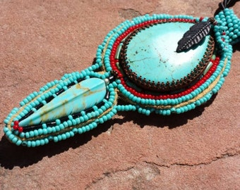 Native dreams of blue native american inspired beadwork by Beadworkdreamsraven.