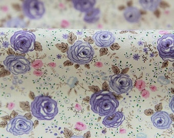 Little Roses Pattern Cotton Fabric by Yard (Purple) AE32