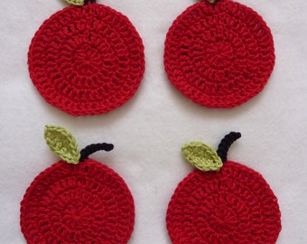 Handmade crochet coasters, red green apple design, cotton coasters, set of 4, unique gift