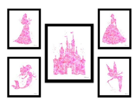 Princesse rose wall art ensemble imprim disney chambre de - Peinture princesse disney ...