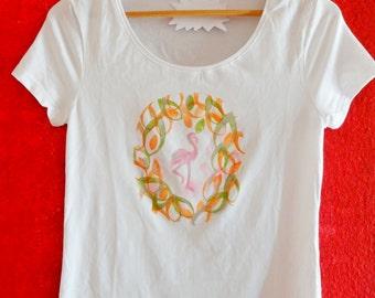 T-Shirt FLAMINGO hand printed