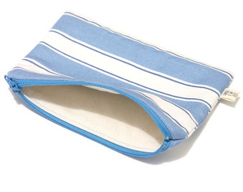 White and blue stripes zipper pouch, work pencil case