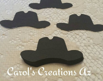 25 Black Cowboy Hats / Cowboy  Die Cuts / Black Cowboy Hat Die Cuts / Western Hat Die Cuts / Western Themed Embellishments / ANY COLOR
