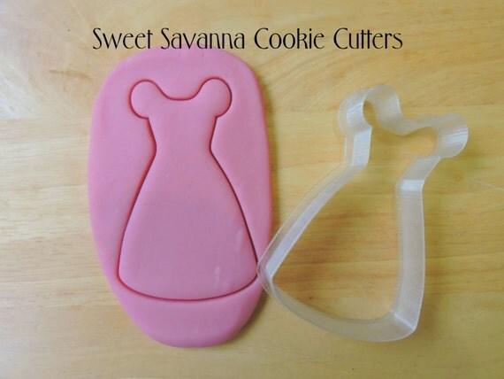 Princess dress cookie cutter girls dress cookie cutter for Wedding dress cookie cutters