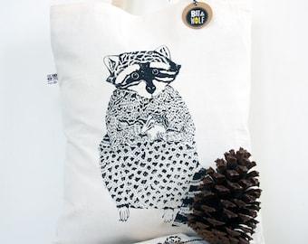 Screen Printed Raccoon Tote Bag