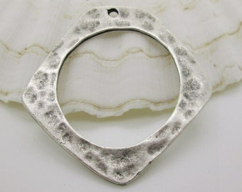 Large Hammered Silver Geometric Pendant, Modern Industrial Style