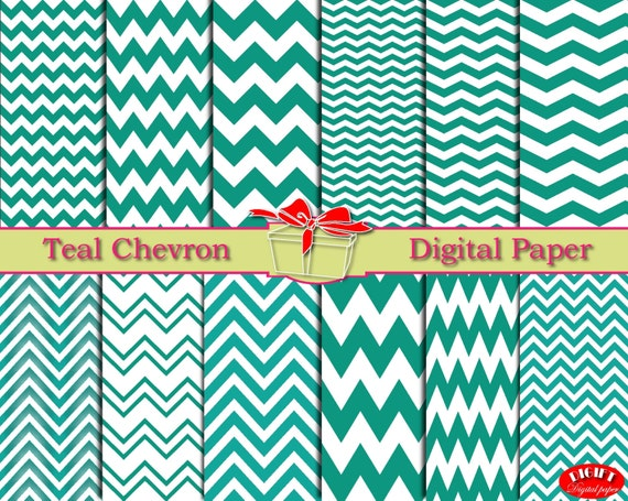 Teal chevron digital paper Teal home decor Teal wall art Teal chevron fabric print Teal party decor Teal green Teal blue invitation paper