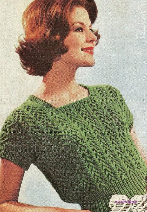 Knitting Pattern For Ladies Vest Top : VINTAGE knitting pattern pdf, ladies summer jumpers vest ...