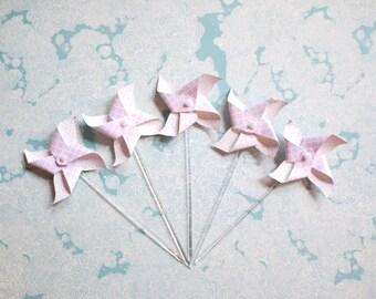 10 Pinwheel Cupcake Picks - Purple Pinwheel Picks
