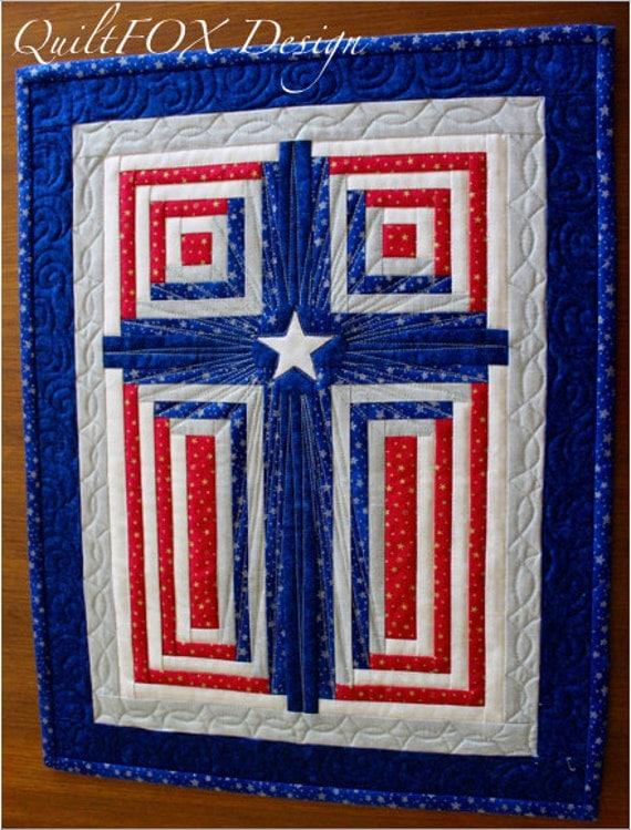 Cross Quilt Pattern Patriotic Cross Log Cabin Cross God