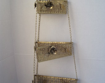 Vintage Shabby Chic Hollywood Regency Hanging Triangle Basket Set with Roses