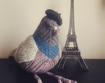 Large Hand Knitted Pigeon Plushy Soft Toy | Pascal the Parisian Pigeon | The Little Songbird