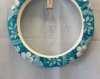 Teal Hawaiian Steering Wheel Cover