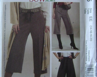 OUT of PRINT McCall's Pattern M5185 Misses' / Miss Petite Pants, Belt, Gaucho and Sash