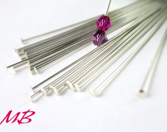 10 pcs Sterling Silver Head Pins, 22 gauge 1.5 inches