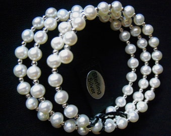 Vintage HONORA Cultured Pearl and Sterling Silver Bead  Spiral Stretch Bracelet