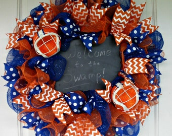 Florida Gators Wreath, University of Florida Wreath, Chalkboard Wreath, Mesh Wreath, UF, Gators, College Wreath, Florida Wreath